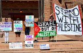 Navajo (Diné) activists demonstrate their solidarity with the people of Palestine