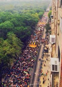 The People's Climate March packed New York City's Central Park West for blocks and blocks.