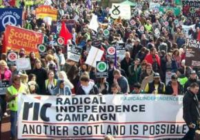 Masses of people rally for a Yes vote in the Scotland independence referendum