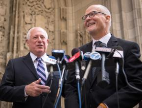 Illinois Gov. Pat Quinn (left) campaigning with running mate Paul Vallas