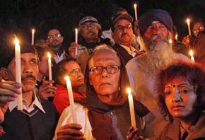 A vigil to protest rape in Kolkata in January 2014