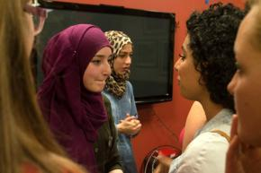 Deema and Shatha talk with Stanford Students for Justice in Palestine