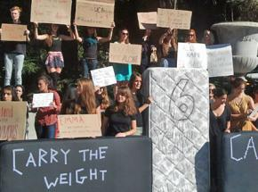 UC Berkeley students gather to show their solidarity with the Carry That Weight protests