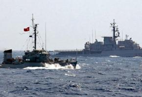 A Turkish naval ship in the waters claimed by Cyprus