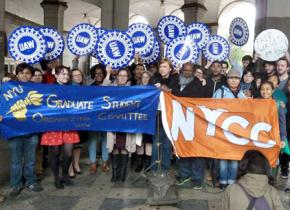 NYU graduate employees rallying for a fair contract