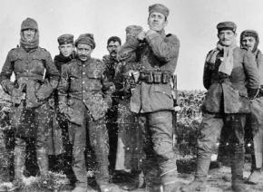 German soldiers stand in No Man's Land during the Christmas Truce in the First World War
