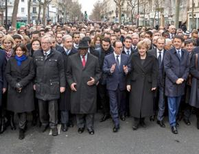 Leaders of the world's most powerful governments put themselves at the front of the Paris march