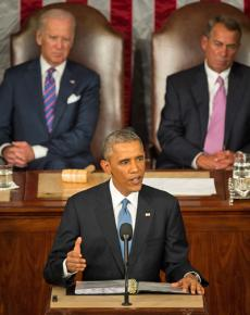 President Obama presenting his State of the Union address