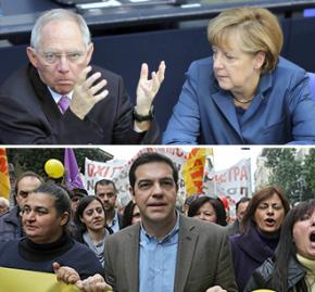 Above, left to right: German Finance Minister Wolfgang Schäuble and Chancellor Angela Merkel; below: Alexis Tsipras at SYRIZA demonstration