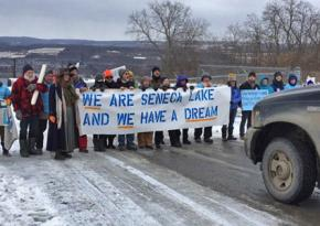 Protesters block traffic to defend Seneca Lake against plans to expand gas storage