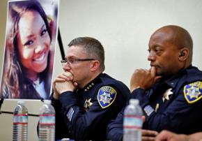 Oakland police hold a press conference about the death of Chyemil Pierce (pictured)