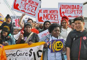 Home care workers join in a Chicago Fight for 15 demonstration