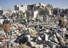 Destruction caused by Saudi Arabia's air assault on Yemen