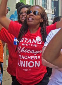 Chicago teachers and their supporters demonstrate against CPS budget cuts
