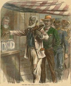 A Harper's depiction of freed slaves participating in their first election during Reconstruction