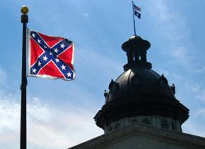 The Confederate flag flying on the grounds of the South Carolina Capitol building