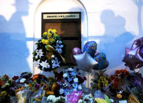 A shrine for the victims of the racist massacre at Charleston's Emanuel AME Church