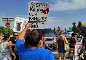 Demonstrators on the march to demand justice for Daniel Covarrubias