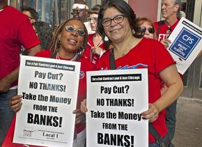 Chicago Teaches Union members rally against the school board's pay cut demand