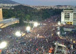 "Huge numbers of people jammed Syntagma Square to celebrate the ""no"" vote"