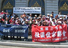 Tenants rights supporters gather in front of San Francisco's City Hall