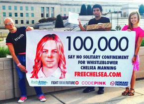Supporters of Chelsea Manning call for her freedom