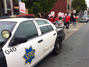 Police are called to a National Union of Healthcare Workers picket at the San Francisco Nursing Center