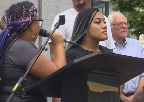 Two Black Lives Matter activists disrupt a rally speech by Bernie Sanders