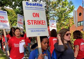 Seattle teachers on the picket line during their strike