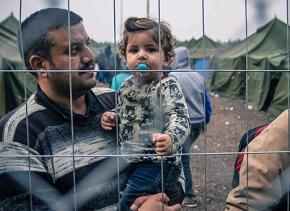 Refugees from Syria stranded at a camp in Hungary