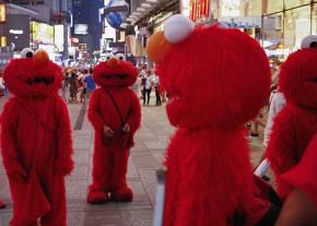 Elmos on the march in Times Square