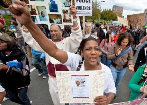 Occupy the Hood protesters march in Boston