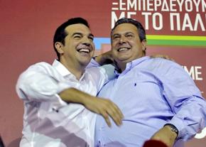 SYRIZA's Alexis Tsipras (left) and ANEL leader Panos Kammenos celebrate on election night