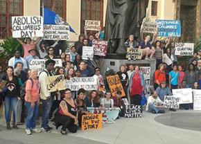 Demonstrators protest Columbus Day in Ohio's state capital