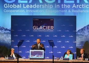 Barack Obama speaks in Alaska on a summit meeting on climate change