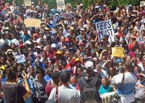 Students gather for a mass meeting at University of Cape Town