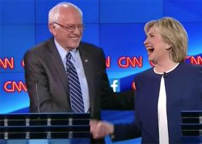 Bernie Sanders and Hillary Clinton at the Democratic Party debate