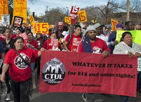Fighting for a $15-an-hour minimum wage and a union