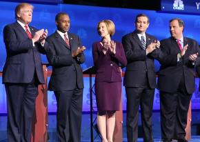 Candidates for the Republican presidential nomination at a primary debate