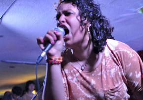 Victoria Ruiz performing with Downtown Boys