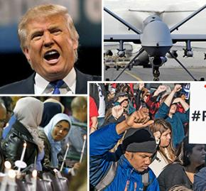 Clockwise from top left: Donald Trump; a Predator drone; protest against police violence; vigil after the San Bernardino shootings