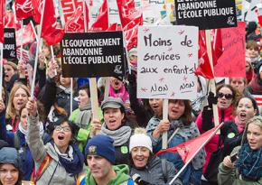 Public-sector workers rally during the general strike in Quebec