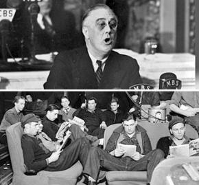 Above: Franklin Roosevelt speaks to Congress; and below: the 1937 Flint sit-down strike