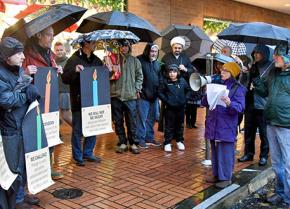 Members of Occupation-Free Portland at a demonstration