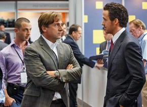Steve Carell (foreground left) and Ryan Gosling (foreground right) in The Big Short
