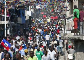 A mass march to protest corrupt elections in Haiti