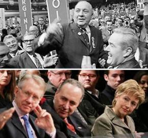 Above: Chicago Mayor Richard J. Daley at the 1968 Democratic convention; below: Modern-day party leaders (left to right) Harry Reid, Charles Schumer and Hillary Clinton