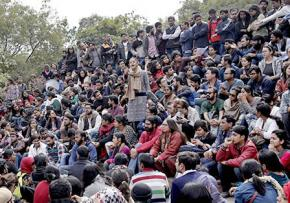 JNU students gathered in protest
