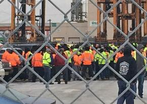 Longshore workers in a job action at the Port of New York and New Jersey