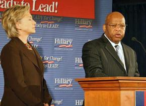 Former civil rights leader and U.S. Rep. John Lewis appears with Hillary Clinton in 2007